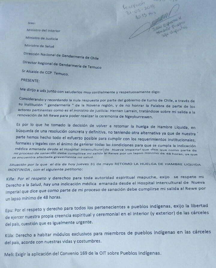 carta reposición huelga de hambre Machi Celestino