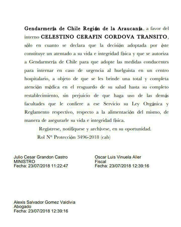 resolucion corte apelaciones de temuco sobre huelga de hambre seca del machi celestino
