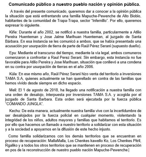 comunicado familia mapuche-pewenche